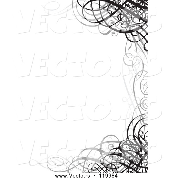 Vector of Grayscale Ornate Swirl Wedding Invitation Border