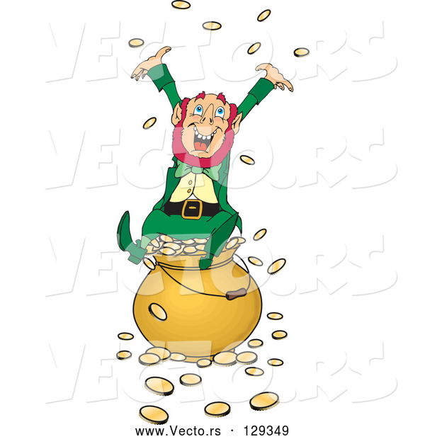Vector of Greedy and Rich Leprechaun Sitting Atop a Pot of Gold, Tossing Coins into the Air