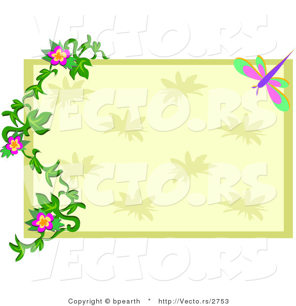 Vector of Green and Beige Rectangle with Floral Vines over Dragonfly Frame