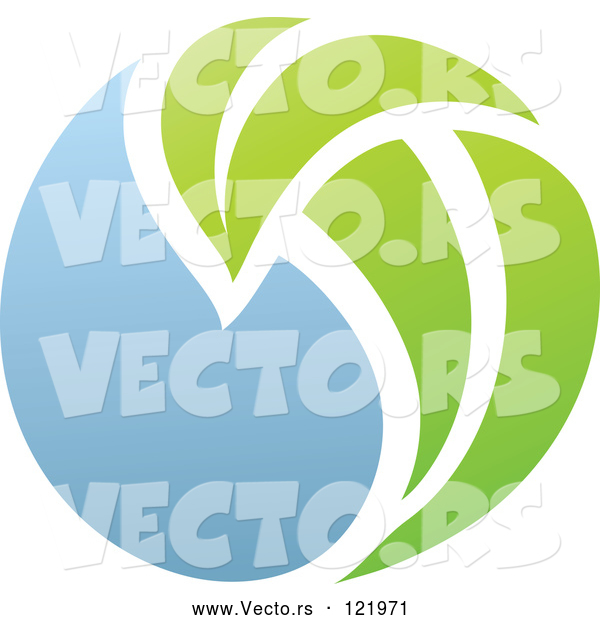 Vector of Green and Blue Natural Organic Sphere and Leaf 2
