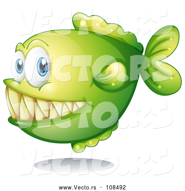 Vector of Green Carnivorous Fish