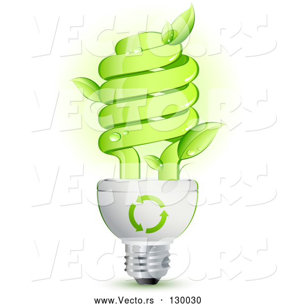Vector of Green Energy Efficient Lightbulb with Leaves Sprouting from the Glass and Green Arrows Above the Spiral