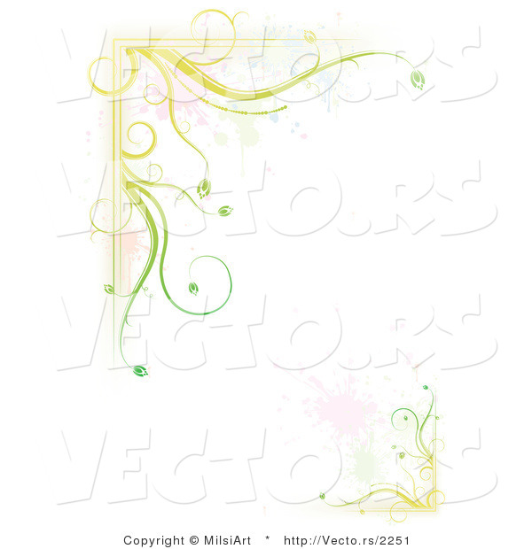 Vector of Green Floral Vines with Splatter Border Background Design