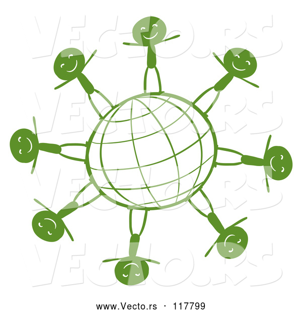 Vector of Green Grid Globe with Happy Stick People