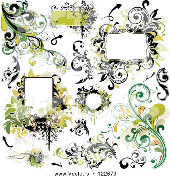Vector of Green Grungy Design Elements Frames and Flourishes