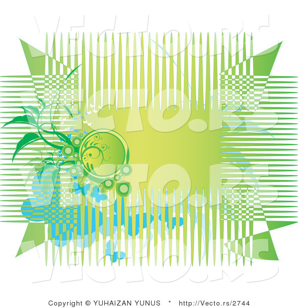 Vector of Green Horizontal Background with Lines, Vines and Butterflies