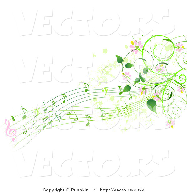 Vector of Green Music Notes with Pink Flowers and Vines - Background Border Design Element