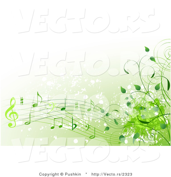 Vector of green music notes with vines background design element