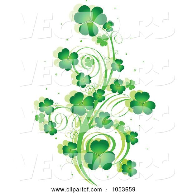 Vector of Green St Patricks Day Shamrock Vine Design Element