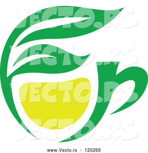 Vector of Green Tea Cup with Lemon and Leaves 1