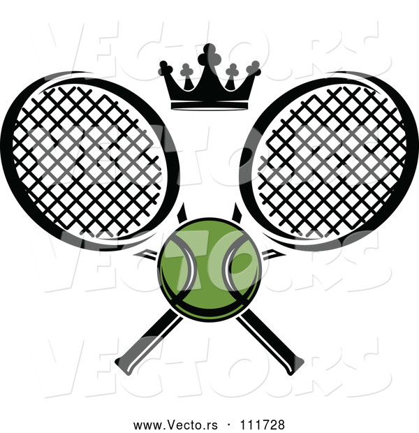 Vector of Green Tennis Ball and Crown with Crossed Rackets