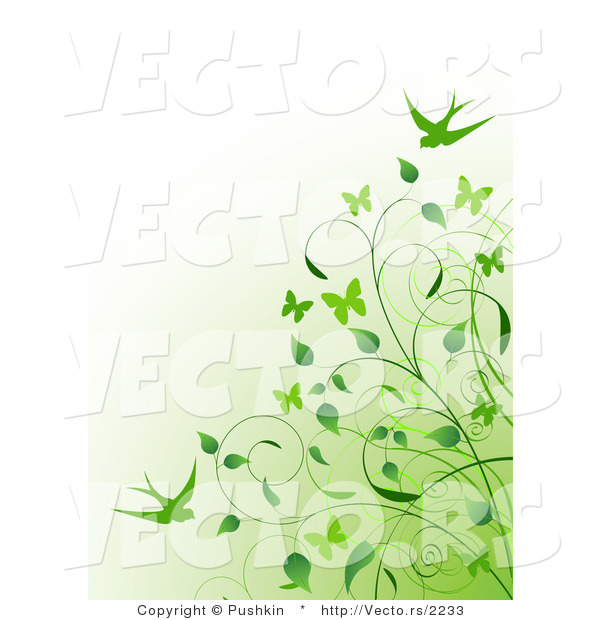 Vector of Green Vines and Swallows over Gradient Green to White Background