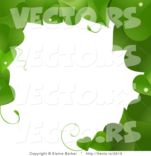 Vector of Green Vines Border Frame with Blank Copyspace Textarea