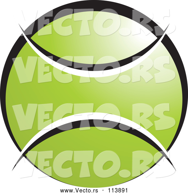 Vector of Green White and Black Tennis Ball with Blank Text Space