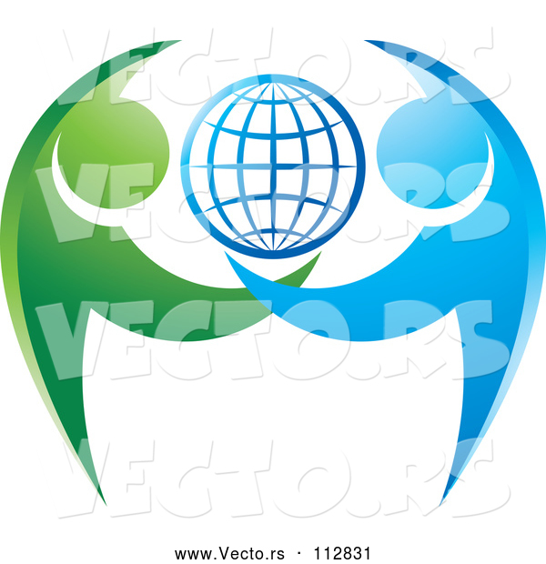 Vector of Grid Globe with Blue and Green Dancing or Protective People