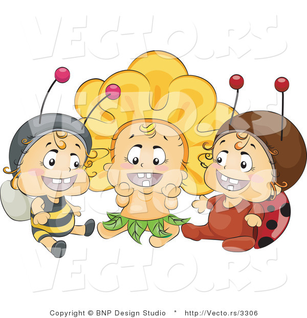 Vector of Group of 3 Happy Babies Wearing Bee, Flower and Ladybug Costumes