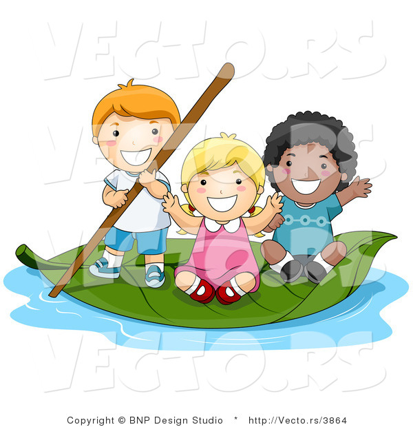 Vector of Group of 3 Happy Kids Floating on a Leaf Boat in a Small Pool of Water