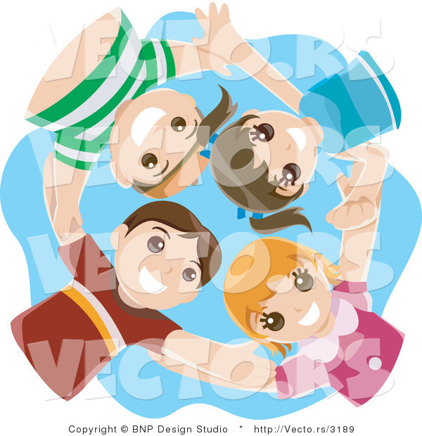 Vector of Group of 4 Happy Kids Huddling in a Circle and Looking down