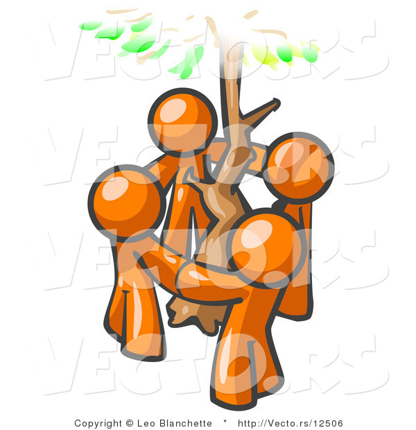 Vector of Group of 4 Orange Guy Standing in a Circle Around a Tree