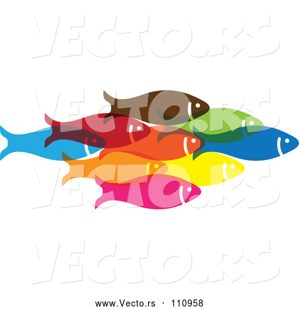 Vector of Group of Colorful Schooling Fish 3