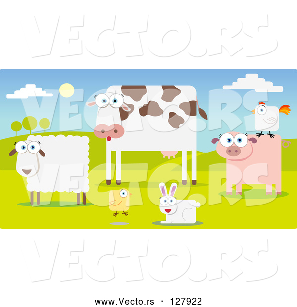 Vector of Group of Farm Animals in a Pasture; Sheep, Cow, Chicken, Rabbit, Pig and Rooster