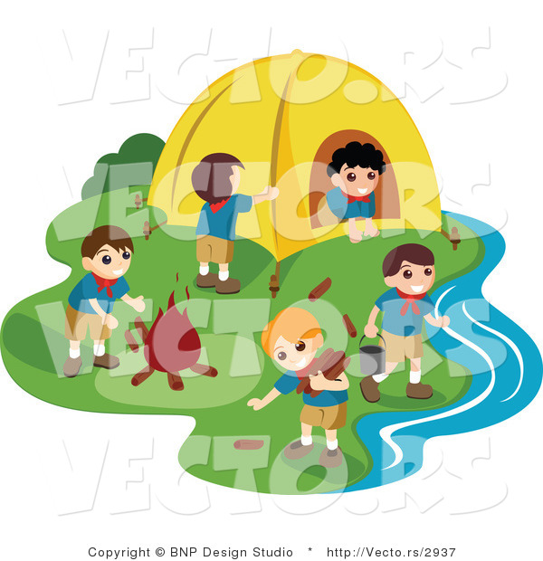 Vector of Group of Happy Boy Scouts Preparing Camp Site