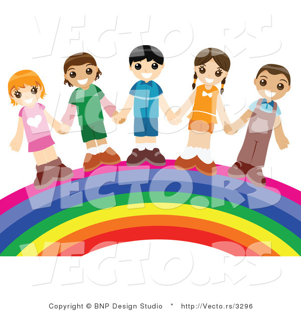 Vector of Group of Happy Kids Holding Hands While Standing over a Rainbow