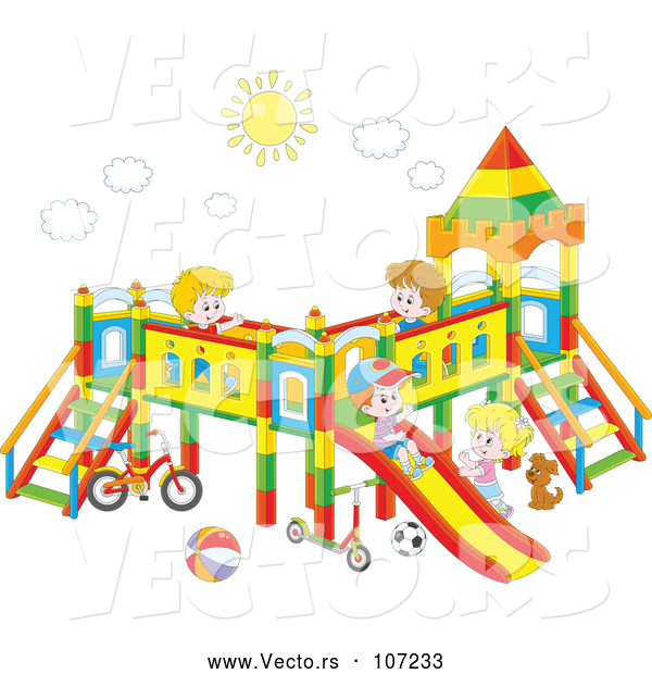 Vector of Group of Happy White Children Playing on a Playground