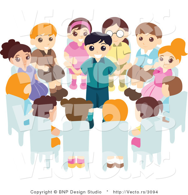 Vector of Group of Kids Sitting in a Circle Around a Boy Giving a Speach