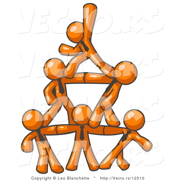Vector of Group of Orange Business Guys Piling up to Form a Pyramid