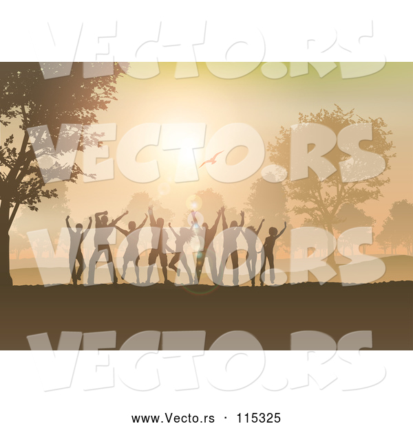 Vector of Group of Silhouetted Dancers Having Fun at Sunset in the Country