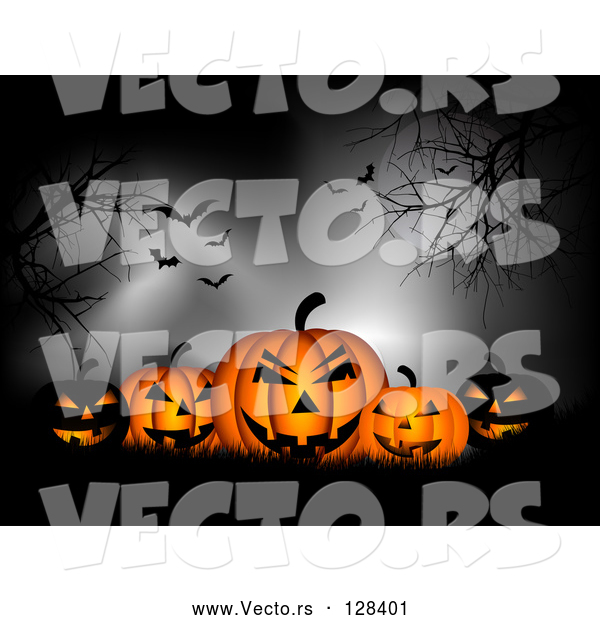 Vector of Group of Spooky Black and Orange Glowing Pumpkins in Silhouetted Grass, Under Trees, a Full Moon, Fog and Vampire Batss