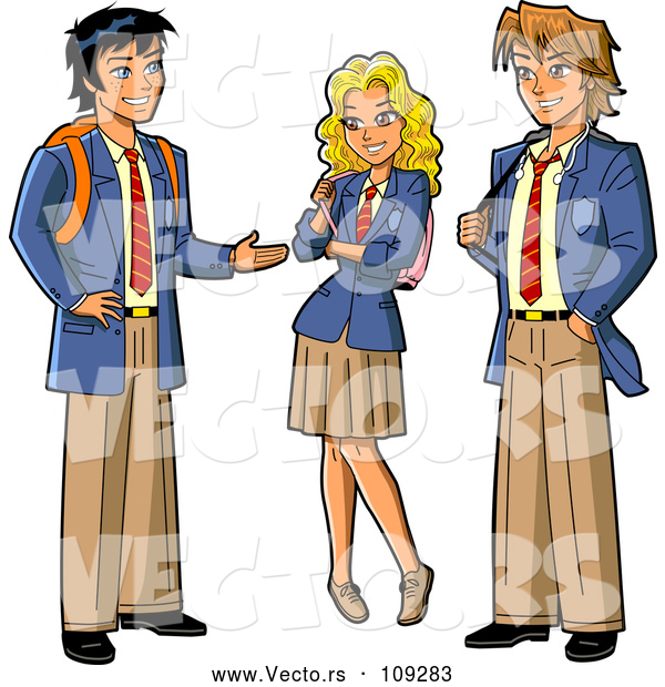 Vector of Group of Three Anime Stymed Teenage High School Studens in Uniforms