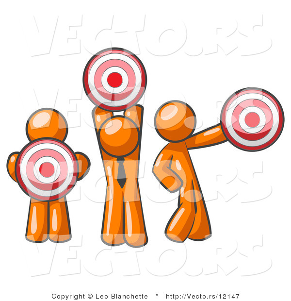 Vector of Group of Three Orange Guys Holding Red Targets in Different Positions