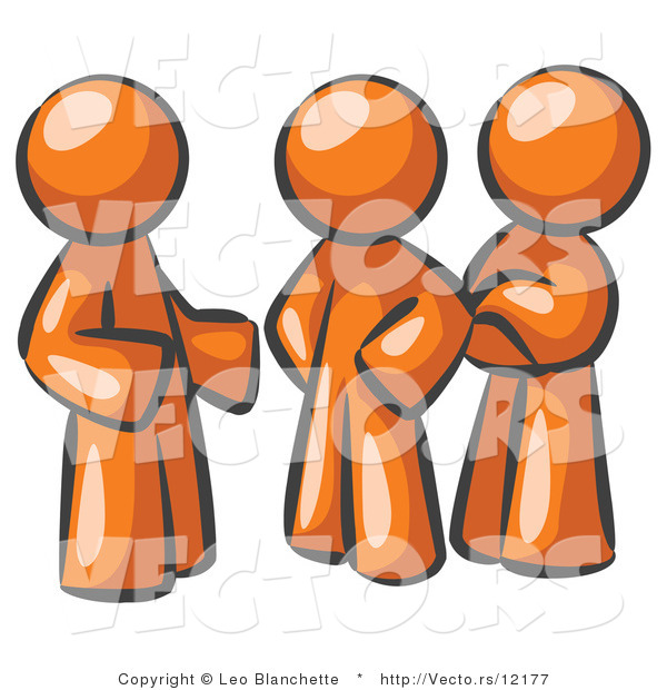Vector of Group of Three Orange Guys Talking at the Office
