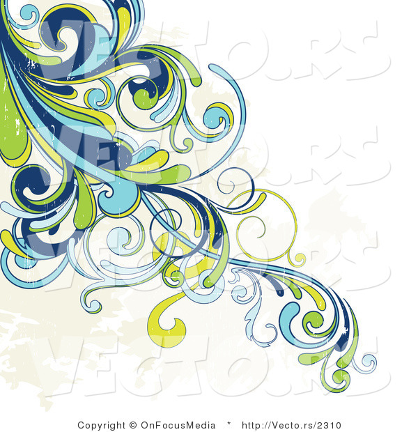 Vector of Grunge Blue, Green and Yellow Swirly Vines with Beige Splatters - Background Corner Border Design
