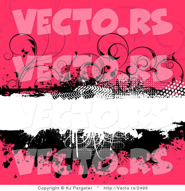 Vector of Grungy Black, White and Floral Pink Background with Splatters, Vines and Blank Copyspace