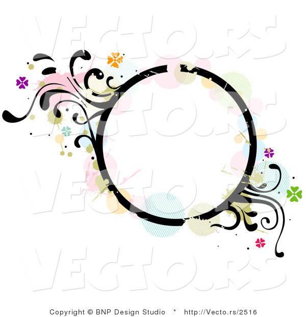Vector of Grungy Circle Background Frame with Splatters, Vines and Butterflies