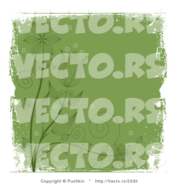 Vector of Grungy Dark Green Floral Vines with White Grunge Borders - - Background Design Element