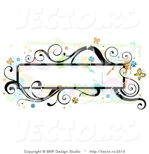 Vector of Grungy Long Background Frame with Splatters, Vines and Butterflies