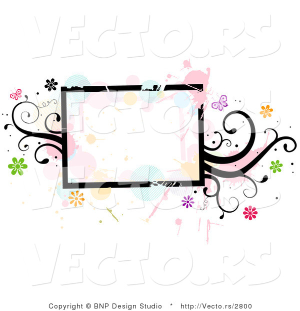 Vector of Grungy Rectangular Background Frame with Splatters, Vines and Butterflies
