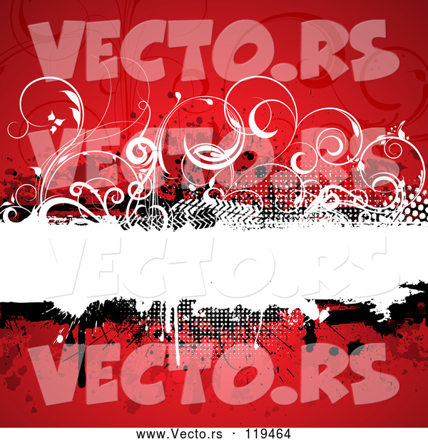 Vector of Grungy Red Background with a Text Bar and Vines