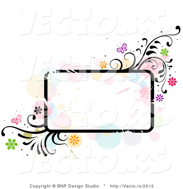 Vector of Grungy Rounded Rectangular Background Frame with Splatters, Vines and Butterflies