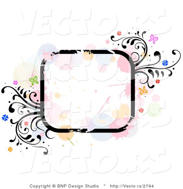 Vector of Grungy Rounded Square Background Frame with Splatters, Vines and Butterflies