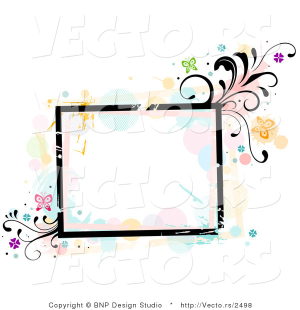 Vector of Grungy Square Background Frame with Splatters, Vines and Butterflies