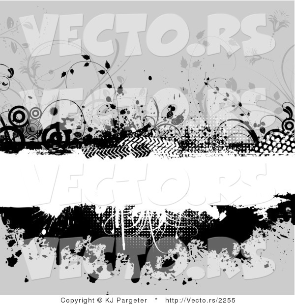 Vector of Grungy White Copyspace Bar Bordered with Black Circles, Vines, Halftone and Splatters over Gray