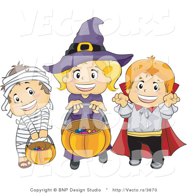 Vector of Halloween Mummy, Witch and Vampire Kids Trick or Treating