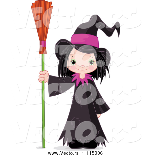 Vector of Halloween Witch Girl Standing with a Broom