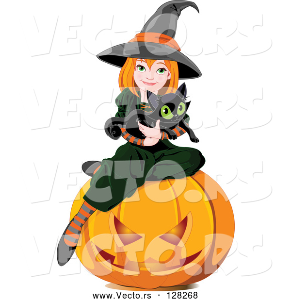 Vector of Halloween Witch Holding a Kitten and Sitting on a Pumpkin