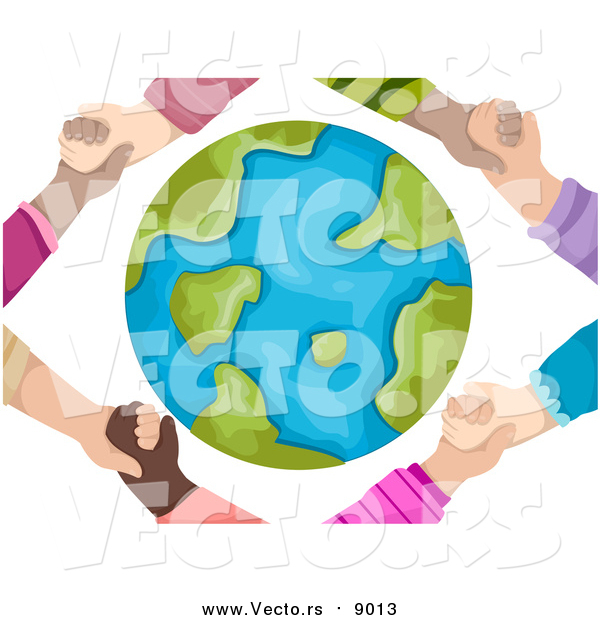 Vector of Hands Holding Around a Globe